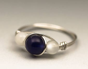 Sodalite & White Moonstone Gemstone Sterling Silver Wire Wrapped Ring - Made to Order, Ships Fast!