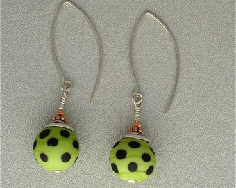 Lampwork Glass Earrings in Matte Chartreuse Green with Black Dots