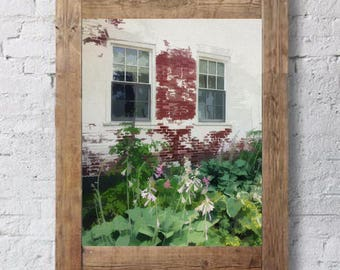 Stowe Vermont - Digital Watercolor - Brick Building - Flower Garden - Digital Print - Watercolor Print - Watercolor Art - Whitewashed Brick