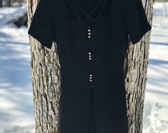 black 80's midi/mini dress with crisscross detailing size 14