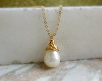 Freshwater pearl necklace, Bridesmaid gifts, simple pearl solitaire, dainty gold necklace, wire wrapped pearl, bridal jewelry, Otis B