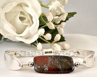 Red Jasper Spoon Jewelry Bracelet , Silverware Bracelet , Gemstone Bracelet, Silver Spoon Bracelet With Stone , Mother's Day Gift for Her