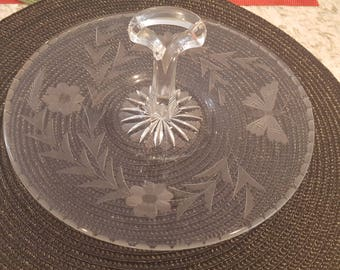 Vintage Glass candy/Holiday treat serving dish