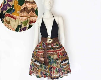 The Sashay Your Way to San Jose Vintage Skirt Printed Abstract Watercolor Cotton Flare Midlength Boho Skirt