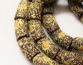 Brown Yellow African Beads(7), Krobo Glass Beads , Ethnic Beads