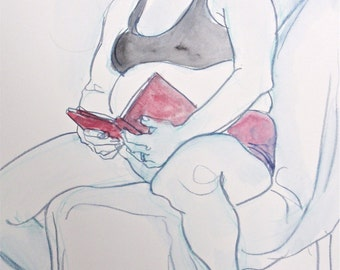 "Summer Reading,Handmade Drawing, Fine Art, Drawing: ""The Holiday Reader"",  Watercolor , Female, Small Artwork"