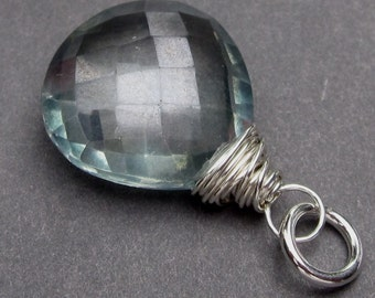 Large Green Mystic Quartz Faceted Checkerboard Briolette Sterling Silver Wire Wrapped Dangle Pendant with Jump Ring