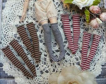 Long Striped Stockings Blythe, Blythe clothes, Pullip socks, Striped stockings, Blythe Striped socks