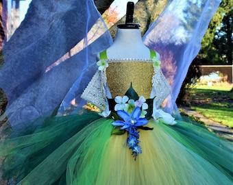 Gold green fairy dress,3D flower fairy costume dress, fairy costume birthday dress, theatrical fairy dance tutu dress