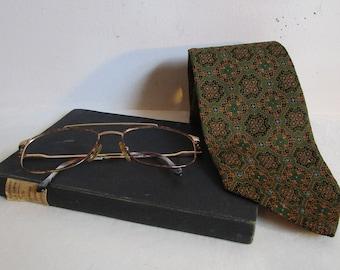60s Floral Peter Morelle Tie Vintage Dark Green Gold Brocade Mens 1960s Textured Necktie