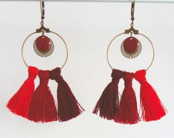Earrings tassel - cotton red and bronze metal - Agathe and Ana