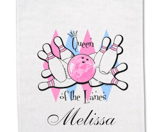 Ladies- Bowling Towels - Bowling Team Towel - Queen of the Lanes - Personalized - Bowling Pins - Bowling Ball - Personalized Gift - Strike