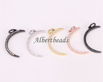 AZYZ191-9951 Fashion Crystal CZ Crescent Moon Charms Women Collar Choker Necklaces Pendants