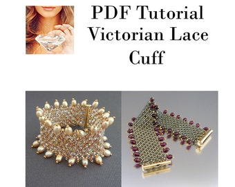Cuff Beaded Pattern, Victorian Lace Cuff PDF, Tutorial Beading Pattern