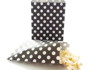 Black Party Favor Bags, Loot Bags, Goodie Bags, Birthday Party Giveaway Bags, 25 Pack - Black Polka Dot Bags