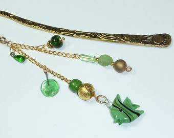 "Large bookmark jewel beads ""Green fish"""