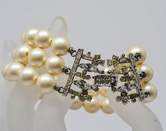 Beautiful multi strand faux pearl bracelet