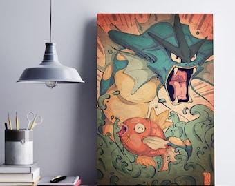 Magikarp and Gyarados Fan Art Print