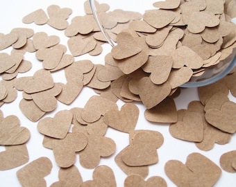Brown Kraft Paper Confetti Hearts -  Wedding, Party, Favours, Vintage Rustic Heart Decor