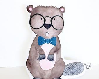 Hipster, Woodland Nursery Pillow, Woodland Creature, Beaver Pillow, Hipster Woodland, Baby Boy Gift, Boy Room Decor, Boy Nursery, Kid Gift