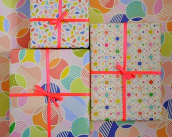 Spot printed wrapping paper / Gift wrap / 6 sheets / 50cm x 70cm / UK printed