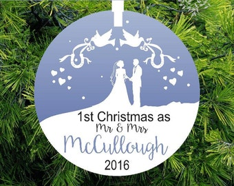 Our First Christmas as Mr and Mrs Ornament -Lovebirds Personalized Porcelain Newlywed Holiday Ornament - Just Married - Lovebirdslane