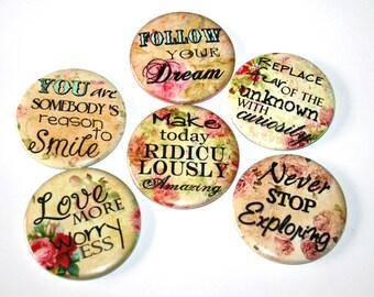 Inspirational Sayings - Set of 6 Large Fridge Magnets
