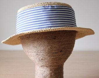 Boater hat womens Skimmer hat Raffia hat Canotier Sun hat womens Crochet summer hat Straw beach hat Adjustable