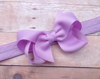 Light purple baby headband - baby headbands, baby headband bows, baby girl headbands, baby bows, baby bow headbands, newborn headbands, bows