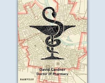 Pharmacy Art, Personalized Pharmacist print, Pharmacy Graduation Gift, Pharmacist gift, Pharmacy student, Nasville art, Mortar and pestle