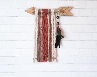 Wood Arrow Wall Hanging / Boho Nursery Decor / Yarn Wall Hanging / Bohemian Bedroom / Quote Wall Decor / Arrow Wall Art / Boho Living Room