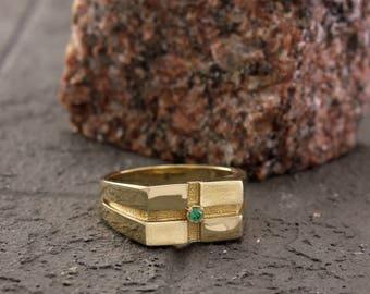 Men's emerald signet ring, Genuine emerald ring, Gold rectangular ring, Emerald gold ring, Birthstone signet ring, Green stone ring