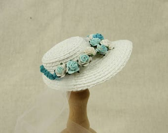 Middie Blythe straw hat, off-white with paper flowers in turquoise and white, silk ribbon and tulle
