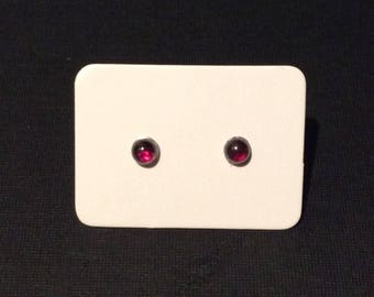 Tiny Garnet Stud Earrings, Deep Red Genuine Garnet Earrings