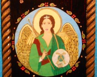 "ARCHANGEL RAPHAEL Bust ""God has Healed""  RETABLO-Feast Day October 24"