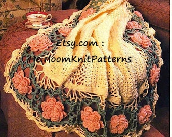 Rose Afghan Vintage Crochet Pattern Lacy Lap Throw Afghan Baby Blanket Wedding Gift Crochet Pattern Instant Download PDF - 2310
