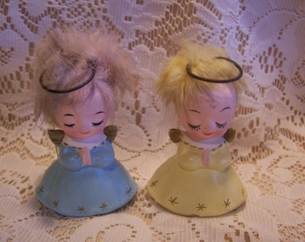 Rare Two Napco Angel Figurines with Fur Hair