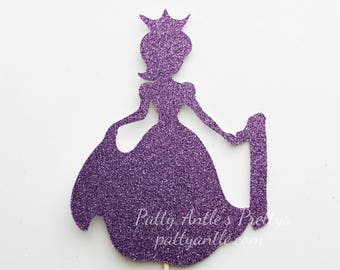 Glitter Princess Birthday Cake Topper, Princess Cake Topper, Princess Birthday Topper, Princess Party Topper, Princess Topper, Girl Topper