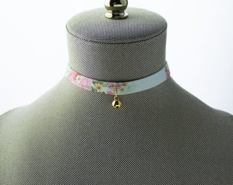 Bells Charm Choker Necklace - Pastel Green With Pink Flower Patterns Fabric Choker - Gold Bells Choker - Chokers For Women - Chokers