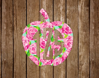 Apple Monogram Vinyl Decal - Teacher Education Preppy Southern Lilly Pulitzer