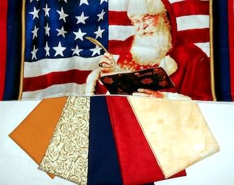 "Fabric Bundle /Christmas/Winter Panel-Patriotic Santa with Globe ""Deck the Halls"" approx. 24"" x 43"" +(5) 1/2yd cuts (#O80)"
