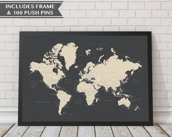 Push pin map etsy 18x24 world push pin map with frame 100 push pins travel map map gumiabroncs Images