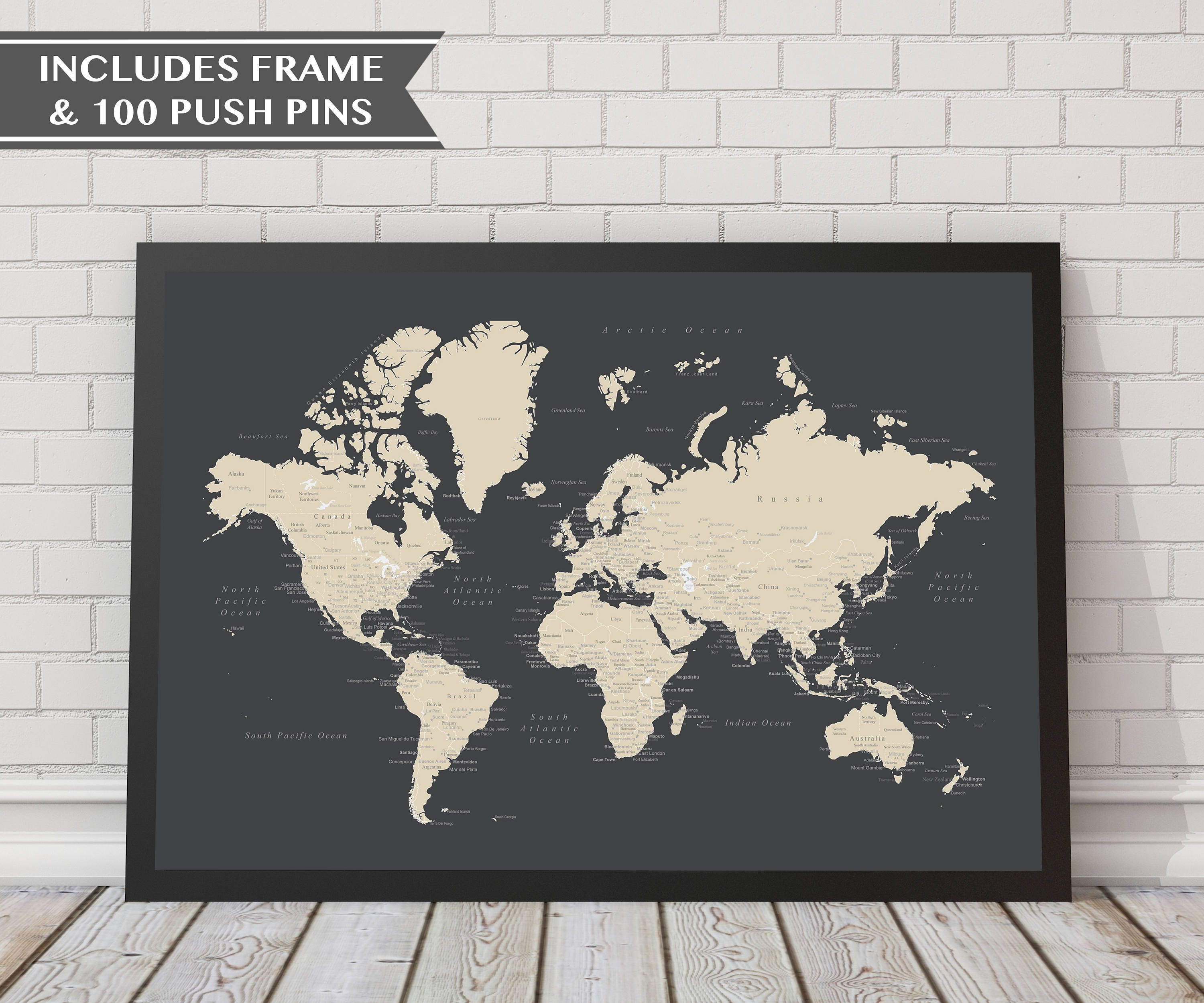 18x24 world push pin map with frame 100 push pins travel zoom gumiabroncs Gallery