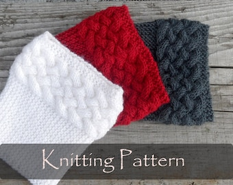 KNITTING PATTERN - Double Cable Boot Cuffs Boot Toppers Pattern Knit Boot Socks Pattern Leg Warmers Cable Braided Pattern PDF - P0054