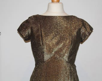 Vintage 1970's Gold Low-cut Back Evening Wiggle Dress (Size 12 (UK))