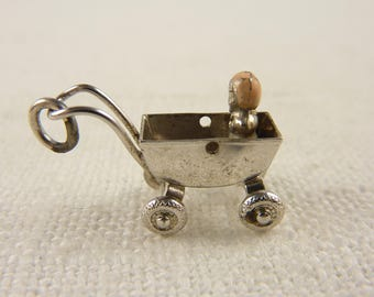 Antique Sterling Painted Baby Carriage Charm with Moveable Wheels