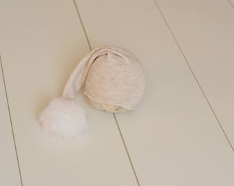 RTS Light Grey sleepy hat with fluffy pompom Baby boy or girl long tail hat Newborn baby photography prop upcycled