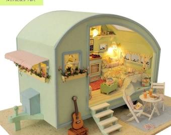 DIY Wooden Miniature Caravan Dollhouse FREE shipping!!! 3D doll house Kit & Miniature Furniture Model LED Sound Control Swich