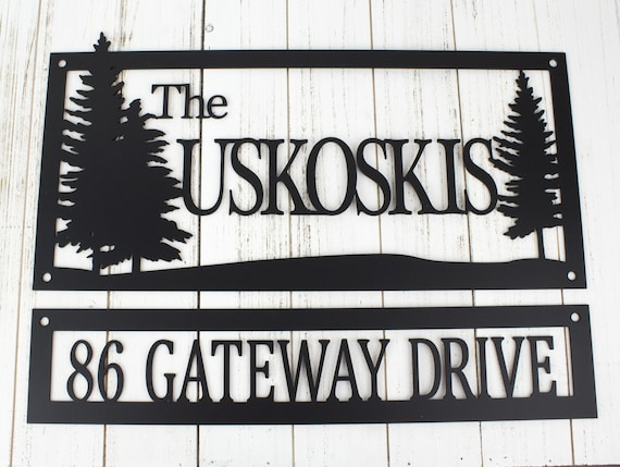 Custom Name And Address Metal Sign Pine Trees Outdoor Sign