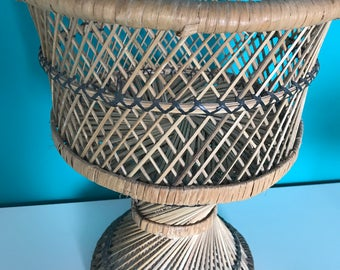 Vintage wicker and rattan plant holder